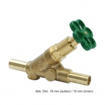 Multi-System Freistromventil aus Pressmessing o. E. DN 20, (da 22 mm di 18 mm)