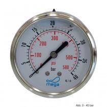 "Glyzerinmanometer, AG, Anschl. 1/4"", hinten, 0 - 40 bar, Gehäuse 63  mm"