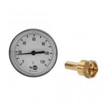 Bimetall-Zeigerthermometer, Gehäuse D=80mm aus Kunststoff, Tauchstutzen 40 mm