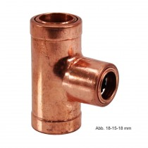 Bänninger Kupfer Steckfitting Cuprofit Reduzier-T-Stück, 22-22-15 mm