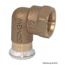 "Geberit Mapress Rotguss Übergangswinkel 90° IG, 15mm x 1/2"""