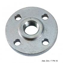 """Gewindeflansch aus Stahl, verzinkt, PN 16, LK d=100mm, SZ = 4, DN 32 (1 1/4"""")"""