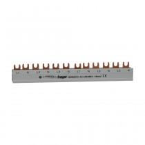 Phasenschiene 3 polig+N mit Gabelanschluss 16mm² 80A 12 Module, KDN451D