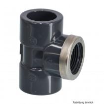 "PVC-U T-Stück 90° mit Edelstahlverstärkung,Klebe x IG x Klebe,20mm x 1/2"" x 20mm"