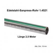 Viega Edelstahlrohr Sanpress nickelfrei 1.4521 in 2,5 m Stange, 15 x 1 mm