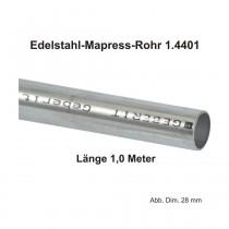 Geberit Mapress Edelstahl Systemrohr 1.4401, Länge 1,0m, 15 X 1,0 mm