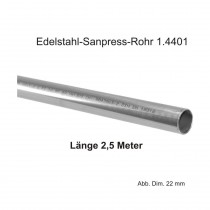 Viega Edelstahlrohr Sanpress nickelfrei 1.4521 in 2,5 m Stange, 22 x 1,2 mm