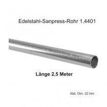Viega Edelstahl-Sanpress-Rohr 1.4401, Länge 2,5m, 22 x 1,2 mm