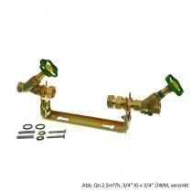 """Wasserzählerbügel mit Armaturen, waagerecht,verstellbar,Qn 2,5 m³/h,1""""IG x 1""""ÜWM"""