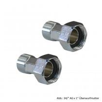 """Wasserzählerverschraubung-Set, MS-verchromt 3/4"""" AG x 1"""" Überwurfmutter"""