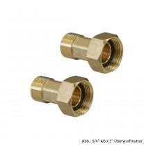 """Wasserzählerverschraubung-Set, MS-blank 1/2"""" AG x 3/4"""" Überwurfmutter"""