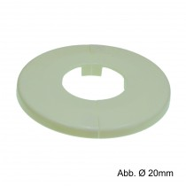 Klapprosetten weiß, außen Ø 65 mm x h 6,5 mm, Ø 16 mm