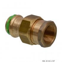 """SEPPELFRICKE Sudo-Press Kupfer/Rotguss Durchgangsverschr. mit IG, fld. 22mm x 1"""""""