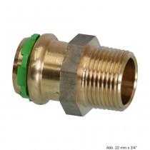 "SEPPELFRICKE Sudo-Press Kupfer/Rotguss Übergangsnippel mit AG, 18mm x 3/4"""