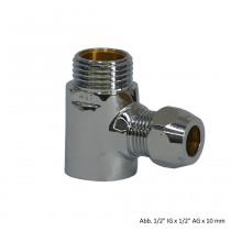 T-Stück 1/2 IG x 1/2 AG x 10 mm QV, verchromt