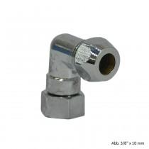 Winkel-Quetschverschraubung /Überwurfmutter 3/8 x 10 mm, verchromt