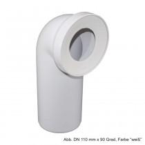 Universal-WC-Anschlussbogen 90 Grad mit Gummilippendichtung DN 110 mm, weiß