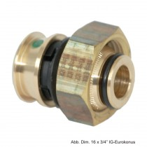 Viega Raxofix Verschraubung, für Eurokonus, 16 mm x 3/4 G, Modell 5381, Rotguss