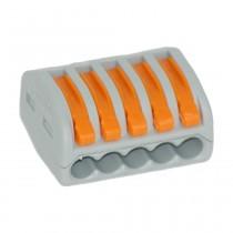 Wago Verbindungsklemmen 5x4, 0.08-4 mm² mit Betätigungshebeln, 40Stck., 222415