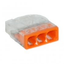 Wago Compact Dosenklemme 3fach, 0.5-2.5 mm², Geh. transparent, 10 Stck., orange