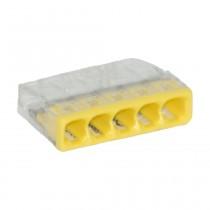 Wago Compact Dosenklemme 5fach, 0.5-2.5 mm², Geh. transparent, 10 Stck., gelb
