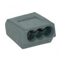Wago Dosenklemme 3fach, 3x1-2.5 mm² e, 24A, 10 Stck., dunkelgrau 273104-10